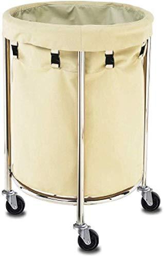 FANg Service Rollwagen Wäsche Sorter Wagen Haushaltsartikel aus Heavy-Duty-1-Bag Trolley, mit Silent Casters und Gestell aus Edelstahl, rund, Beige Wäschekorb Sortier Auto (Size : 60 x 80 cm)