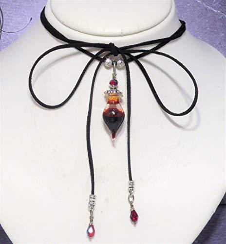 Vampire Blood Vial Black Choker Lariat Necklace by Adorna Jewellery