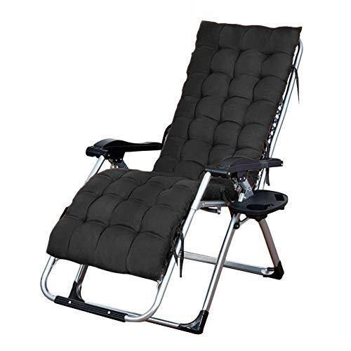 CHAIRQEW Liegestuhl Klappbar Comfort Gartenstuhl mit Becherhalter Kopfkissen, für Camping Garten Büro Freizeit Garten relaxsessel strandliege (Color : Black)