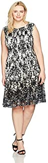 Julian Taylor Women's Plus Size Full Figured Chandelier Printed Lace Dress