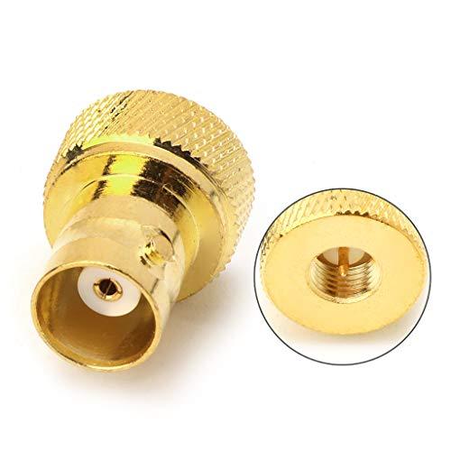 beioust Conector BNC fêmea para plugue SMA macho conector RF conversor coaxial disco reto - ouro
