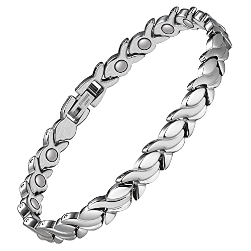 Jeracol Magnetic Bracelets for Women Ladies Fish Tail Design Titanium Steel Bracelet Adjustable Wristband with Gift Box & Removal Tool Silver