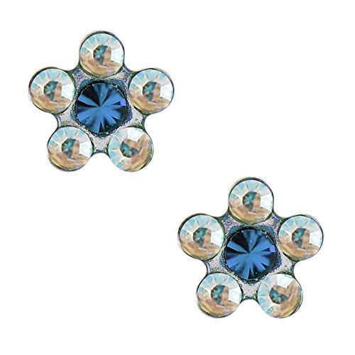 Studex Tiny Tips AB et Aquamarine Crystal Boucles d'oreilles hypoallergéniques pour enfants, acier inoxydable 5mm