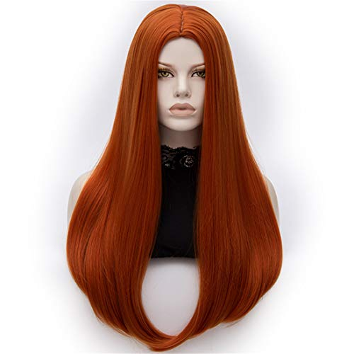 """Cying Lin 26"""" Long Straight Orange Red Wigs Middle Parting Wigs for Women Cosplay Party Halloween Costume Wig Include Wig Cap (Orange Red)"""