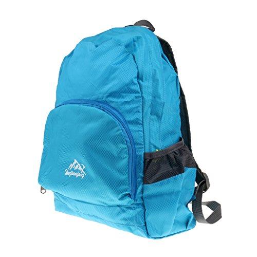 品 ナイロン製 男女兼用 折りたたみ式 超軽量 バックパック ハイキング キャンプ リュックサック 20L 8色選ぶ - 青