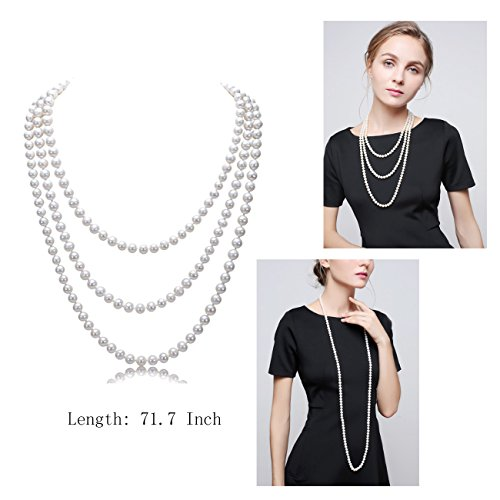 HAMIST 1920s Accessories Set Great Gatsby - For Women Headband Bracelet Pearl Necklace Earring For Party (4Pack-Black)