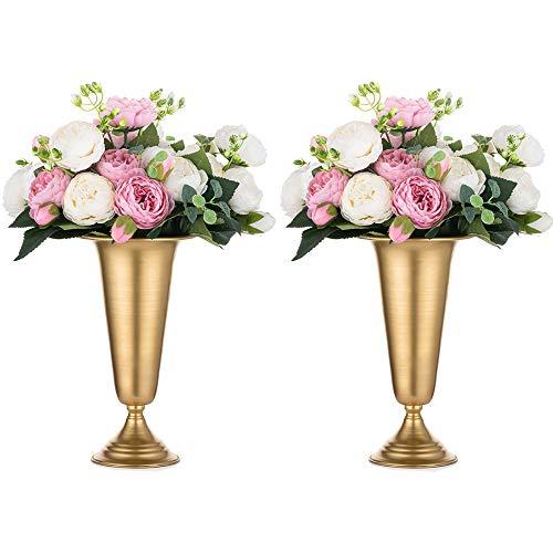 2 Piezas Florero de Trompeta de Metal con Flores Elegante para Centros Mesa de Boda para Decoración Banquetes Boda, Arreglos de Flores Artificiales 26.7cm Altura para la Ceremonia de Aniversar