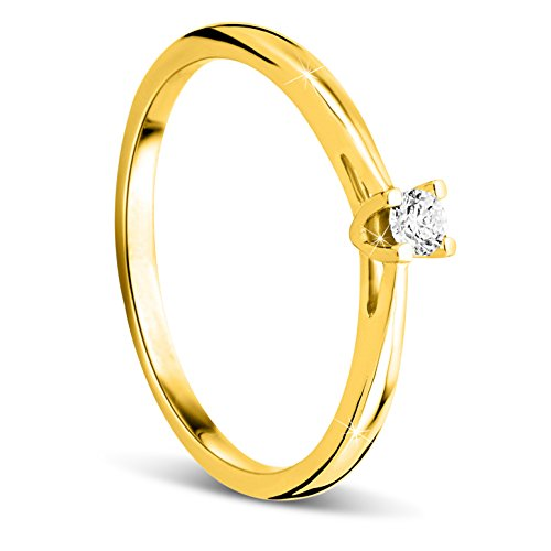Orovi Anello Donna Solitario con Diamante taglio brillante Ct 0.07 in oro Giallo 9 kt 375