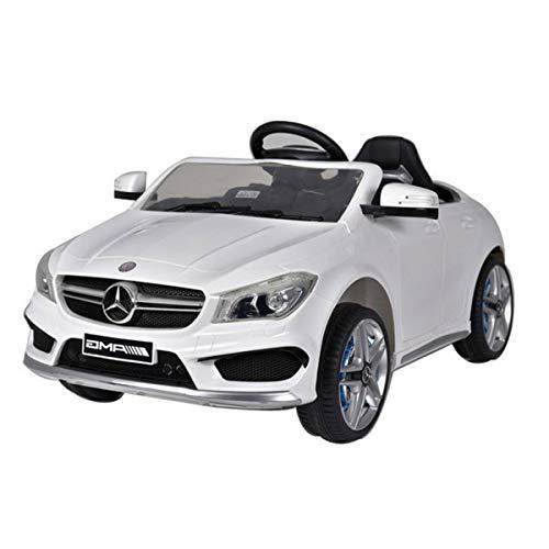 BAKAJI Auto Macchina Elettrica Mercedes CLA 45 AMG 12V per Bambini con Telecomando Parentale per Comando a Distanza con Ruote in Gomma Fascia Centrale (Bianco)