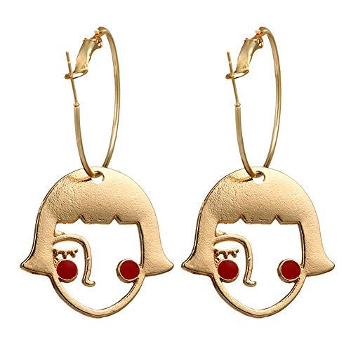 Danigrefinb Women Clothing Accessories Creative Hollow Abstract Girl Face Alloy Golden Hoop Earrings Jewelry Charm Gift
