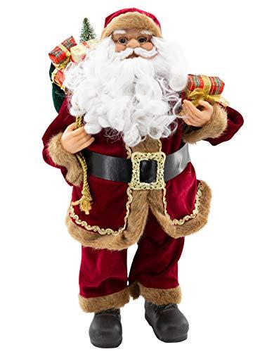 Weihnachtsmann Figur hochwertig mit Geschenken 60cm weinrot Samt-Optik Deko Nikolaus Santa Claus Dekofigur Weihnachtsdeko detailreich