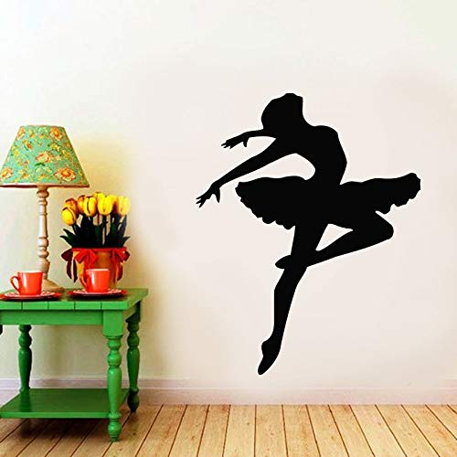 wZUN Ballerina Silhouette Wall Decal Ballet Dance School Classroom Girl Bedroom Decoration Vinyl Sticker 50X62cm
