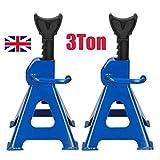 Autofather Heavy Duty 6 Ton Axle Stands for Car Van 4x4 Caravan Garage Workshop Steel Robust Construction Support Lift 29-43cm, Pack of 2