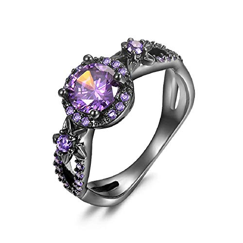 MAIHAO Fashion Rings White Fire Opal CZ Fashion Round Purple Amethyst Ring Women's 10KT Black Gold Filled Wedding AAA Cubic Zirconia Jewelry Size 6-10 (US Code 7)