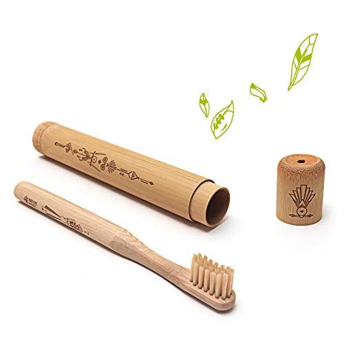 Nature Nerds - reistandenborstel voor kinderen, bamboe etui incl. Tandenborstel / tandenborstelhouder / reisetui