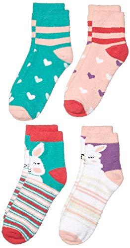 Amazon Brand - Spotted Zebra Kids Girls Fuzzy Cozy Socks, 4-Pack Bunny Llama, One Size