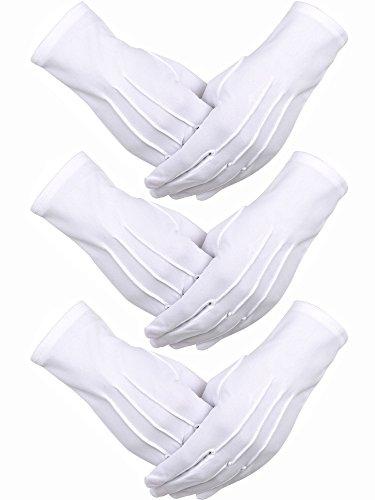 3 Pares de Guantes de Algodón de Nylon Guantes de Disfraz de Desfile Blancos para Guardia de Honor Formal Tuxedo de la Policía y Ocasiones Especiales (Diseño de 3 Costuras)