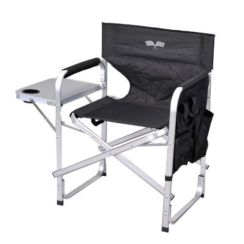 Stylish Camping Ming's Mark SL1204-BLACK/FLAG Folding Director's Chair - Black with Flag