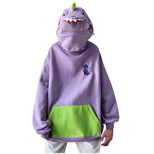 qiaoxiahe Damen Dinosaurier Pullover Hoodies Tasche Pullover Jacke Kreativität Spleißen Dreidimensional Schön Design Absicherung Sweatshirt Mantel mit Kaupze Reißverschluss
