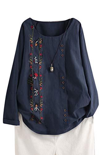 Femme Chemisier Manches Longues en Coton Lin Kaftan Imprimé Floral Tunique T-Shirt Baggy Tops Grande Taille Blue1 4XL