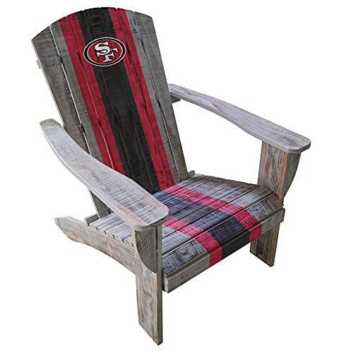 Imperial Officially Licensed NFL San Francisco 49ers Distressed Adirondack Chair - Premium Wooden Outdoor Patio, Lawn, and Yard Seating Furniture, one size fits all (IMP 511-1005)