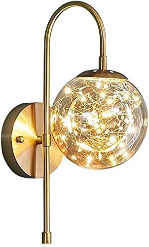 GAOYINMEI Lluminación de Pared Vidrio Sala de Estar Dormitorio Interior Lámpara de Noche Simple Moderno TV Fondo de Pared Pasillo Pasillo Luz Dorado