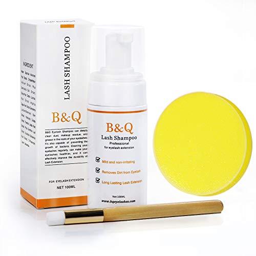 Limpiador de lash B&Qaugen -Shampoo Foaming/Eyelash para espuma de extensión de pestañas con cepillo suave y bocadillo (100 ml)