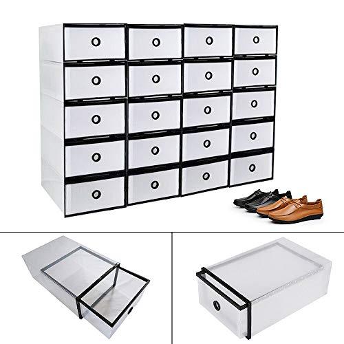 Fetcoi 20 cajas de zapatos – Caja de plástico transparente apilable organizador de zapatos para hombre y mujer 31 x 20,5 x 12 cm