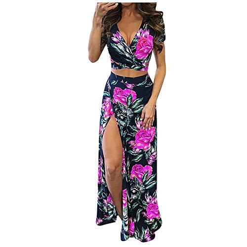Women's Sexy V Neck Floral Printed Side Slit Two-Piece Maxi Dress Crop Top Long Skirt Beachwear Set