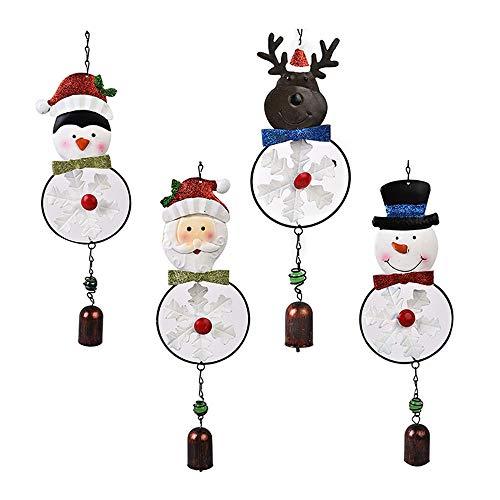 æ - 4 campanillas de viento de Navidad, pintado a mano, diseño de Papá Noel muñeco de nieve con campana, colgante de árbol de Navidad para decoración de bodas