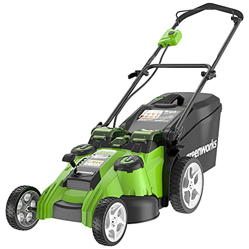 Greenworks 2500207 40V Dual Blade Cordless Lawn Mower, 49 cm Cutting Width, 60 Litre Grass Box, No Battery and Charger Included