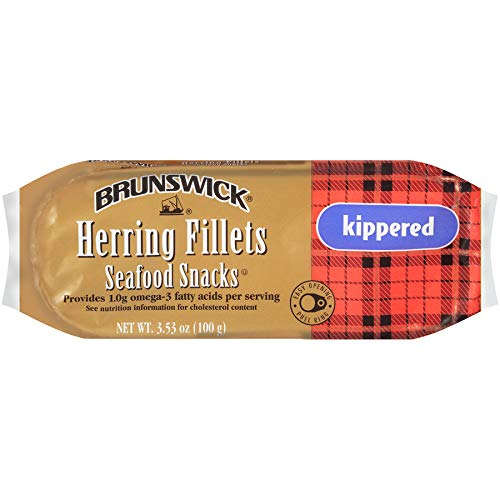 Brunswick Boneless Kippered Herring Fillet Seafood Snacks 3.53 Ounce Cans (Pack Of 12)