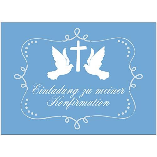 15 x Einladungskarten zur Konfirmation mit Umschlägen / 2 Tauben auf Blau/Konfirmationskarten/Einladungen zur Feier