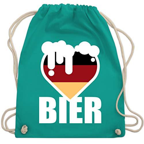 Shirtracer Oktoberfest Beutel - Herz mit Bier - Deutschland - Unisize - Türkis - Geschenk - WM110 - Turnbeutel und Stoffbeutel aus Baumwolle