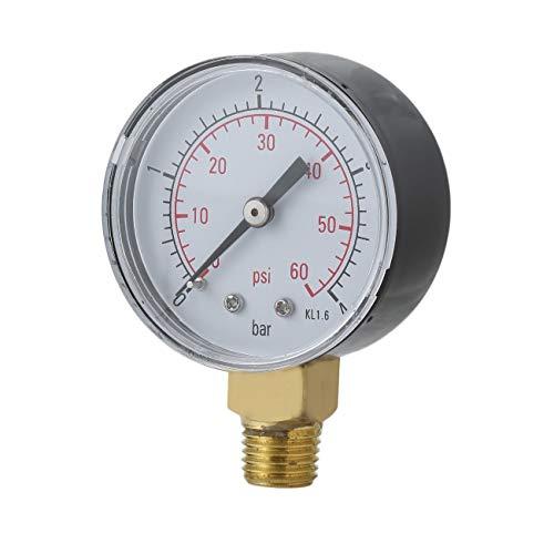 fengzong Práctico Piscina SPA Filtro Manómetro de Agua Mini 0-60 PSI 0-4 Bar Montaje Lateral Rosca de tubería de 1/4 Pulgada NPT TS-50 (Negro y Negro)