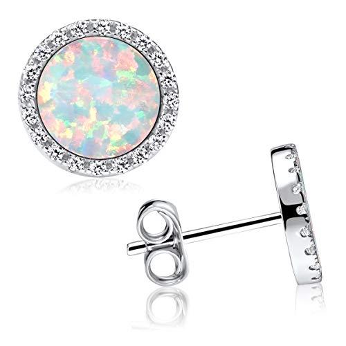 MATERIA Opal Ohrringe Silber 925 - Damen Ohrstecker weiß rund flach mit Zirkonia Steine in Schmuck Box SO-394-Opale
