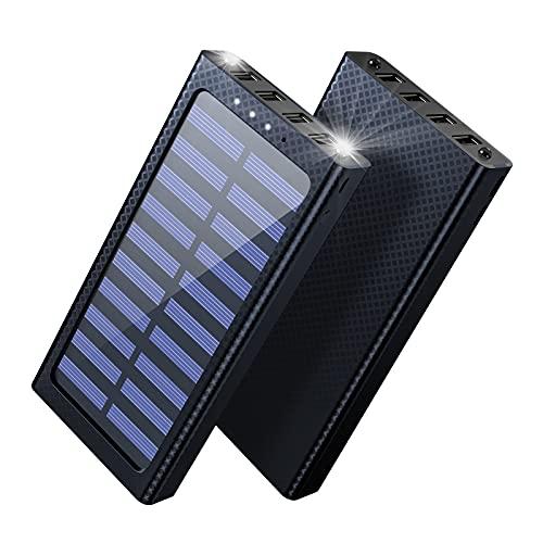 Aikove Solar Powerbank, 24000mAh Externer Akku, 4 USB mit 2.4A Ausgänge Tragbares Ladegerät für Aktivitäten im Freien, USB-C Eingang Schnellladen Power Bank Kompatibel für Handy und Tablet, 360g