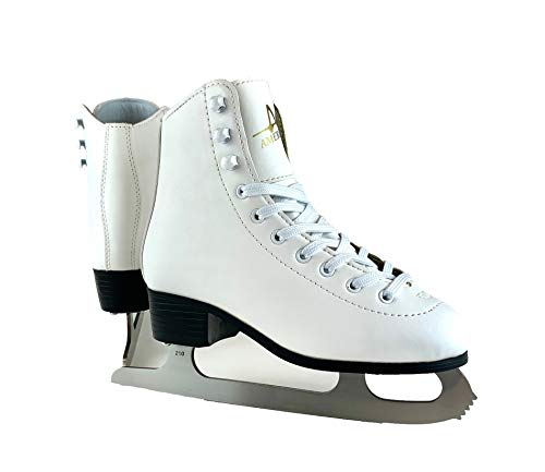 American Athletic Shoe Girl's Tricot Lined Ice Skates, White, 3 (51203)