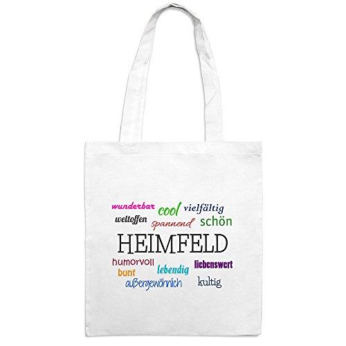 Jutebeutel mit Stadtnamen Heimfeld - Motiv Positive Eigenschaften - Farbe weiß – Stoffbeutel, Jutesack, Hipster, Beutel