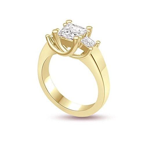 1.00ct F/VS1 Diamante Trilogy Anello da Donna con Princess diamanti in 18kt Oro giallo