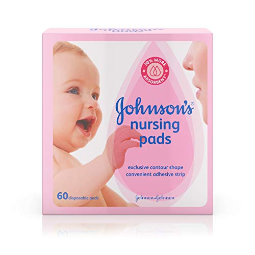 Johnson's Disposable Nursing Pads with Natural Cotton, Super Absorbent, Comfortable, and Breathable, Natural Contour Shape, 60 ct ( Pack of 2)