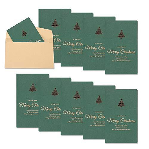 10 tarjetas de felicitación navideñas con sobres de metal decoración de árbol de Navidad envueltos bricolaje postal Navidad fiesta invitaciones regalo de Navidad