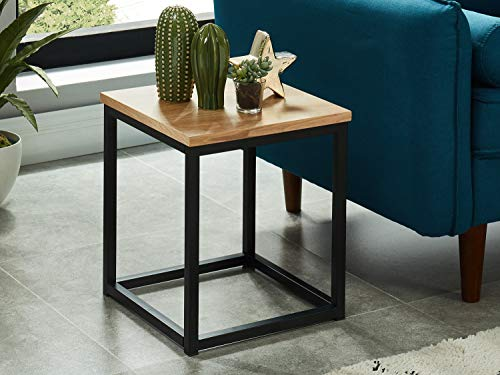 BAITA Brixton bijzettafel, industriële, hout en zwart, 35 cm