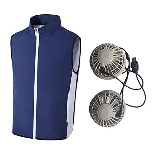 Perfeclan Raffreddamento Estivo Pesca Ricarica Abbigliamento Traspirante Assorbente dal Sudore Raffreddamento Gilet di refrigerazione Asciugatura Rapida - Blu Profondo XL