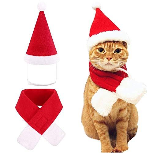 ILOVEDIY Katze Hund Mütze Schal Set Weihnachten Pet Weihnachts Kostüm (L)