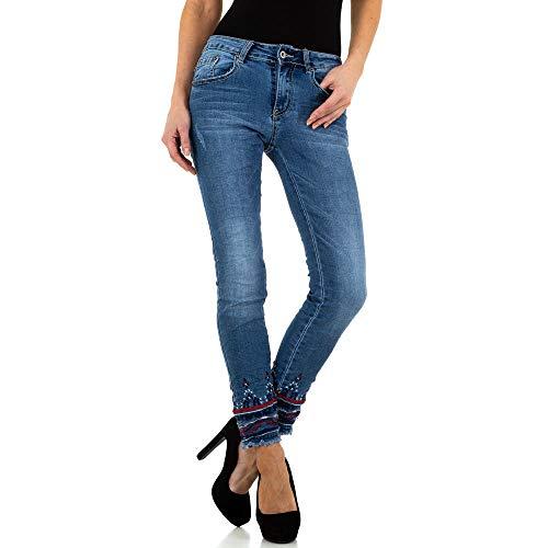 Ital-Design BESTICKTE Skinny Jeans Place du Jour Gr. 38 Blau