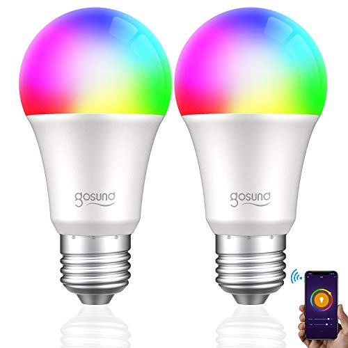 Smart LED Bulb WiFi Light Bulb, Works with Alexa, Google Home, Gosund Dimmable Multicolor A19 65W Equivalent, Remote Control, No Hub Required, RGB 2700K Bulb with Schedule Function (2 Pack).