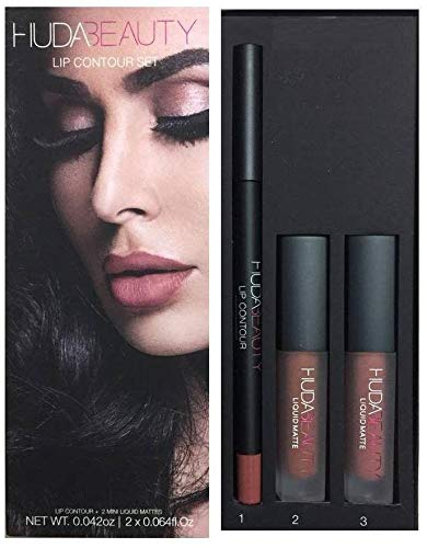 Huda Beauty Lip Contour Set - Trendsetter (brown nude) & Bombshell (subtle pinkish nude)