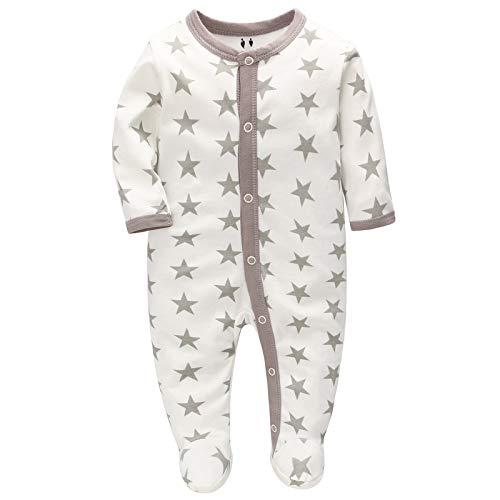 Baby Schlafanzug Schlafstrampler Schlafsack Gr. 56 62 68 Baumwolle mit Füßen mit knöpfen für Junge Mädchen Neugborene 0-6 Monate (Graue Sterne, 68)