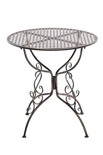 CLP Eisentisch Amanda im Jugendstil I Robuster Gartentisch mit kunstvoll verzierten Tischbeinen I erhältlich, Farbe:Bronze